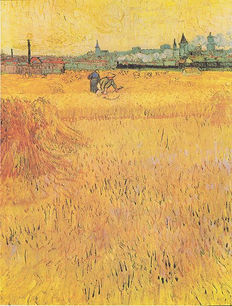 Wheat field with View of Arles by Vincent van Gogh (1888)