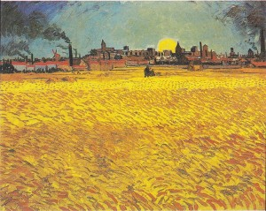 Wheat field at sunset by Vincent van Gogh (188)=8)