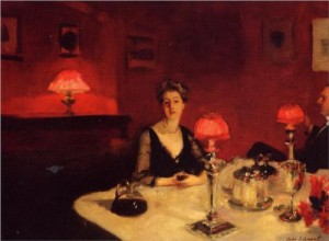 Le verre de porto (A Dinner Table at Night), John Singer Sargent (1884)