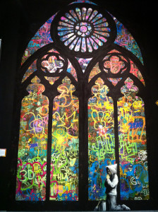 Stained Glass by Banksy & City Of Angels students- Photo ©2011 Mike Macadaan, CC BY 2.0